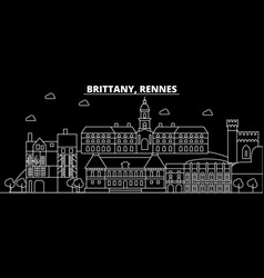 rennes silhouette skyline france - rennes vector image