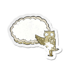 Retro distressed sticker of a cartoon owl pointing vector