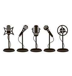 Retro microphone icons vector