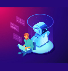 Robot software concept isometric vector