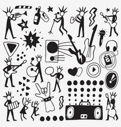 Rock musicians doodle vector