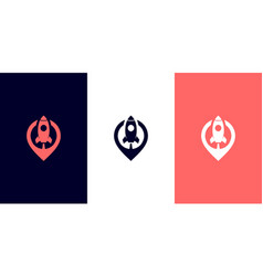 rocket pin logo design vector image