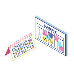 schedule board and calendar information isolated vector image
