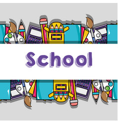 School tools to education background design vector