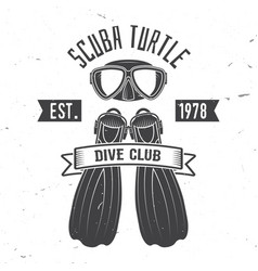 scuba turtle dive club vector image