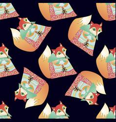 seamless pattern with cartoon fairy fox vector image