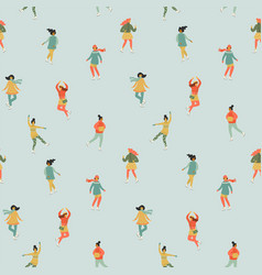 seamless pattern with women skate trendy vector image