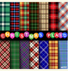 set christmas tartan seamless patterns vector image