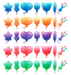 set color cartoon balloons and fireworks vector image