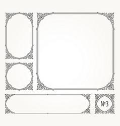 set of flourishes calligraphic elegant frames vector image