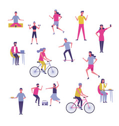 Set of people exercising and having fun vector
