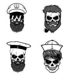 Set of sailors skulls vector