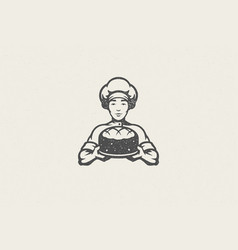 silhouette male chef baker carrying plate vector image