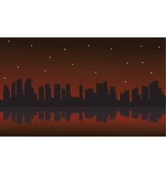 Silhouette of building and star vector image