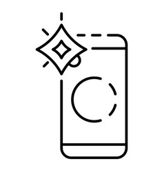 smartphone flash icon outline style vector image