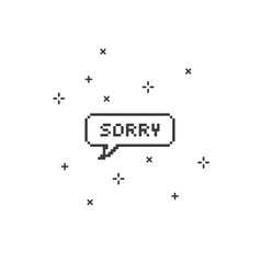 Sorry in speech bubble 8-bit pixel art vector