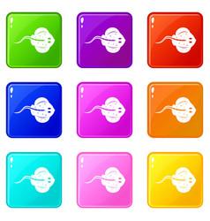 Stingray fish icons 9 set vector