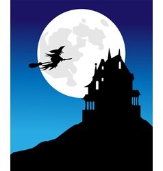The pervasive witch moon and spooky house vector image