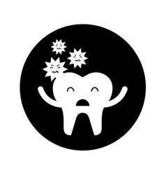 Tooth with caries character icon vector