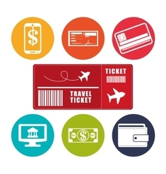 Travel ticket application online e-commerce vector