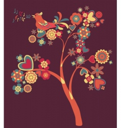 Tree of flowers vector