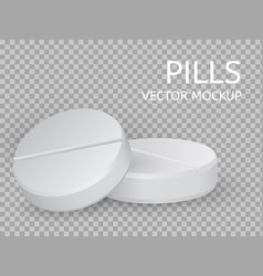 Two round pills close-up lying on top of each vector