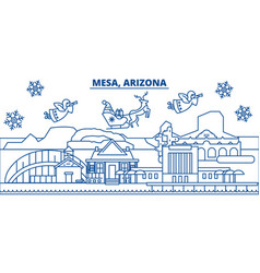 usa arizona mesa winter city skyline merry vector image