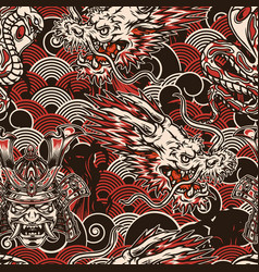 Vintage japanese seamless pattern vector