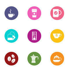Warm drink icons set flat style vector