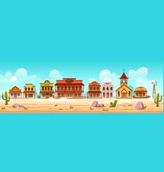 western town street with wooden buildings vector image