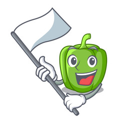 with flag green bell peppers isolated on mascot vector image