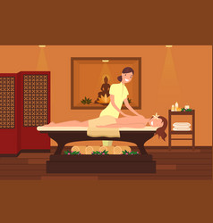woman at massage therapist cabinet beauty salon vector image
