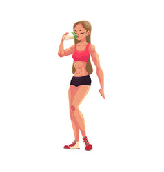woman bodybuilder weightlifter drinking protein vector image