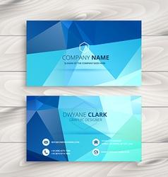 Blue polygonal business card vector
