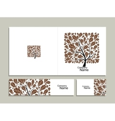 Business card collection abstract square tree vector image vector image