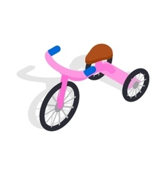 Pink tricycle icon isometric 3d style vector image