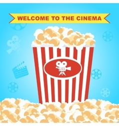 pop corn in red box poster vector image vector image