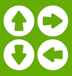 arrow set icon green vector image vector image