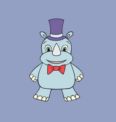 baby rhino cartoon vector image vector image