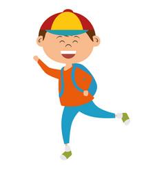 cute little boy with bag school vector image