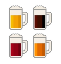 Four Glasses with Different Color Beers on White vector image vector image