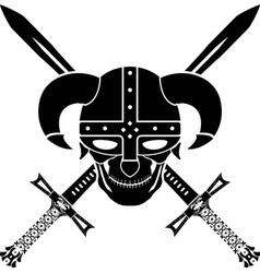 helmet and swords of fantasy warrior second vector image