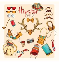 Hipster sketch set vector image vector image