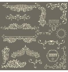 Lacy vintage floral design elements vector