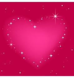 star heart in pink sky vector image vector image