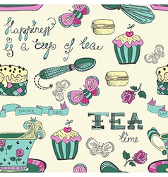 Color tea time pattern vector image vector image
