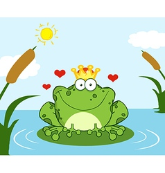 Crowned frog prince on a leaf in lake vector