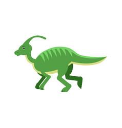 cute cartoon green parasaurolof dinosaur vector image