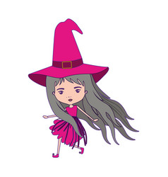 cute witch flying in colorful silhouette with vector image