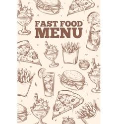 Fast food doodles background vector image vector image